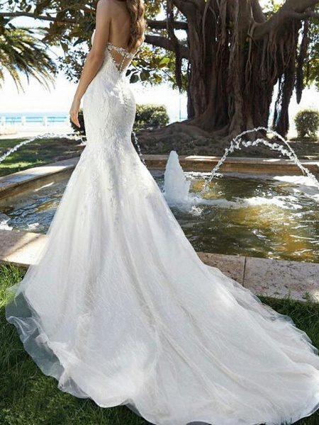 Mermaid \ Trumpet V Neck Court Train Lace Tulle Short Sleeve Formal Wedding Dresses_2