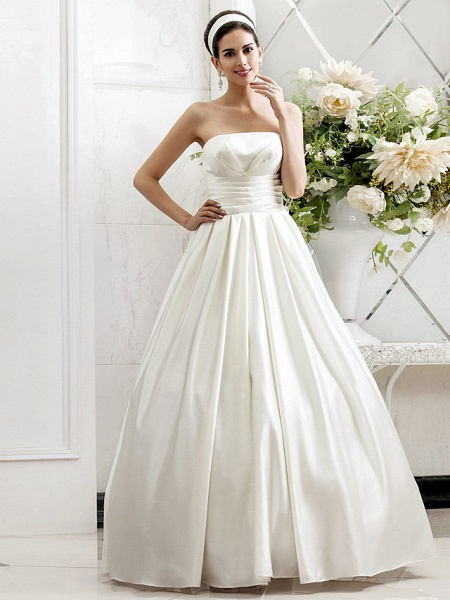 Princess A-Line Wedding Dresses Strapless Sweep \ Brush Train Satin Sleeveless_1