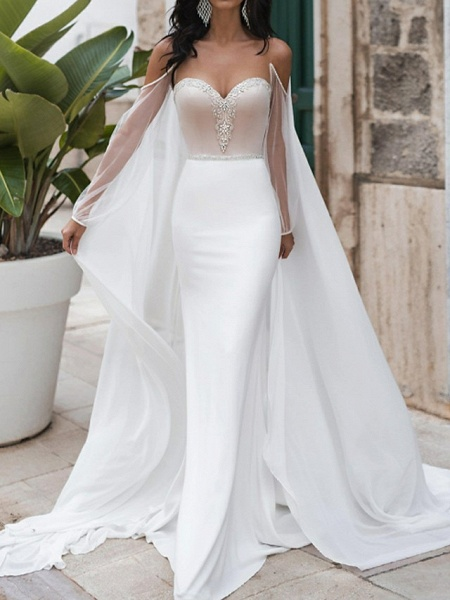 Mermaid \ Trumpet Wedding Dresses Sweetheart Neckline Sweep \ Brush Train Polyester Long Sleeve Romantic See-Through Illusion Detail Backless_2