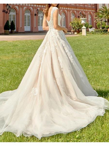 A-Line V Neck Court Train Lace Tulle Polyester Regular Straps Formal Plus Size Wedding Dresses_2