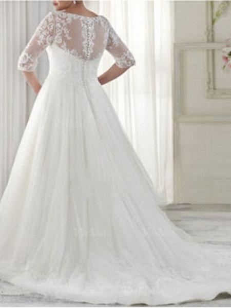 A-Line Wedding Dresses V Neck Sweep \ Brush Train Tulle Half Sleeve Illusion Sleeve_2