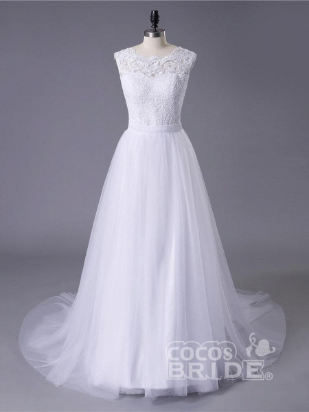 New Lace O-Neck Lace Tulle Boho Wedding Dresses_3