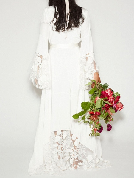 A-Line Plunging Neck Sweep \ Brush Train Polyester Long Sleeve Casual Plus Size Wedding Dresses_2
