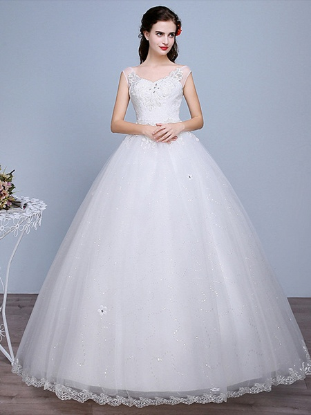 Ball Gown Wedding Dresses Sweetheart Neckline Floor Length Lace Tulle Polyester Sleeveless Romantic Glamorous Sexy_1
