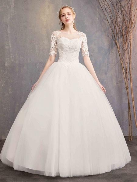Ball Gown Wedding Dresses Sweetheart Neckline Floor Length Lace Tulle Half Sleeve Glamorous See-Through Illusion Sleeve_1