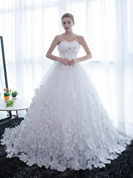 Ball Gown Wedding Dresses Strapless Chapel Train Satin Tulle Strapless Sparkle & Shine_4