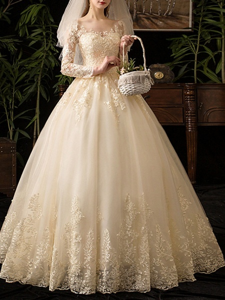 A-Line Wedding Dresses Scoop Neck Floor Length Lace Long Sleeve Glamorous See-Through Illusion Sleeve_2