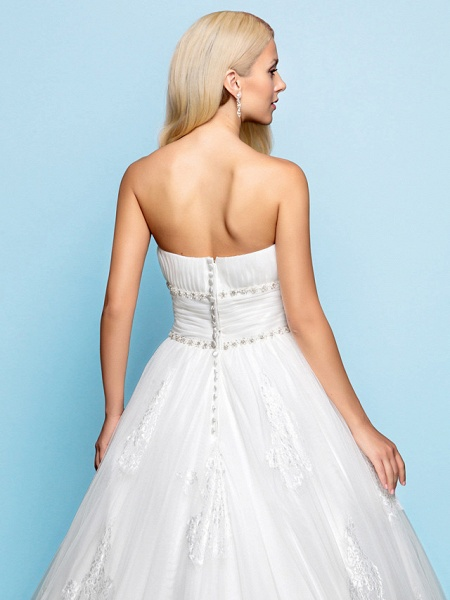 Ball Gown Wedding Dresses Strapless Court Train Organza Tulle Sleeveless_6