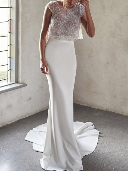 Two Piece Mermaid \ Trumpet Wedding Dresses Jewel Neck Court Train Tulle Sequined Chiffon Over Satin Cap Sleeve Sexy See-Through_1