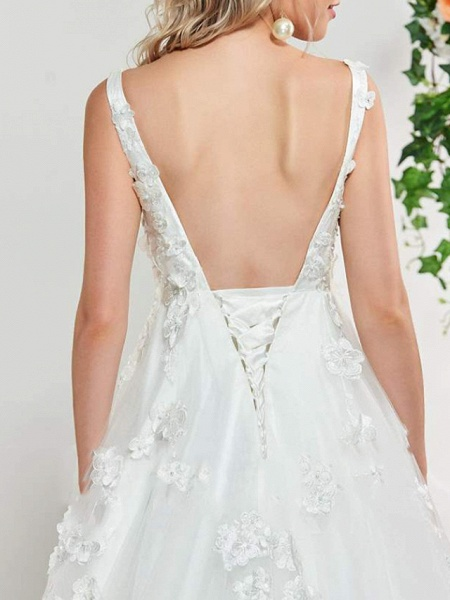 A-Line V Neck Sweep \ Brush Train Lace Tulle Sleeveless Sexy Backless Wedding Dresses_5