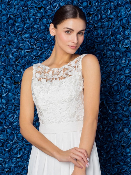 Sheath \ Column Elegant Prom Formal Evening Dress Illusion Neck Sleeveless Floor Length Chiffon Lace_9