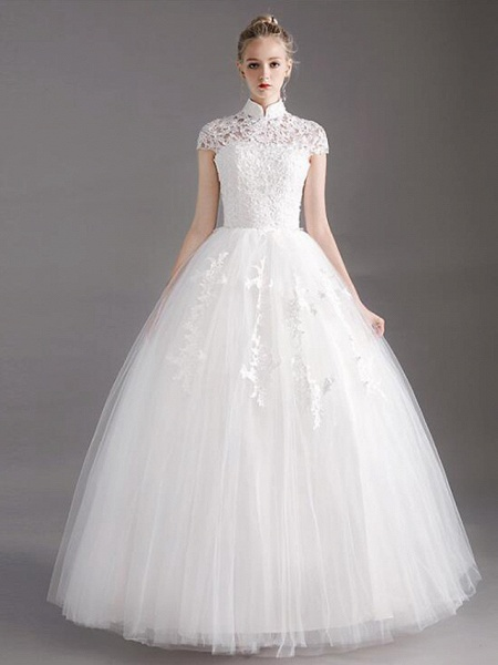 Ball Gown Wedding Dresses High Neck Floor Length Lace Tulle Polyester Short Sleeve Glamorous See-Through Illusion Detail_2