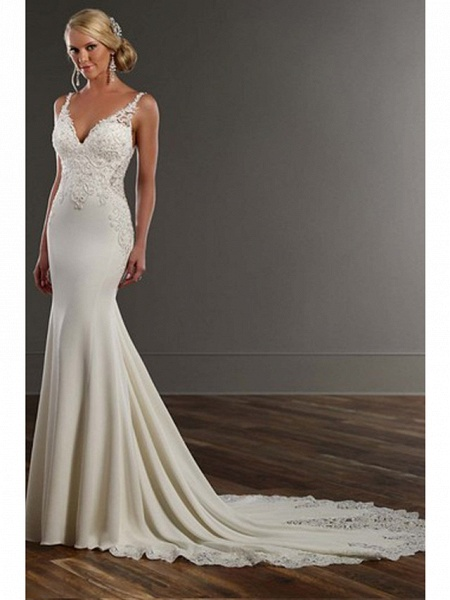 Mermaid \ Trumpet Wedding Dresses V Neck Chapel Train Lace Stretch Satin Spaghetti Strap See-Through Beautiful Back_1