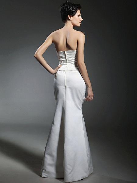 Mermaid \ Trumpet Wedding Dresses Strapless Sweetheart Neckline Floor Length Satin Long Sleeve_7