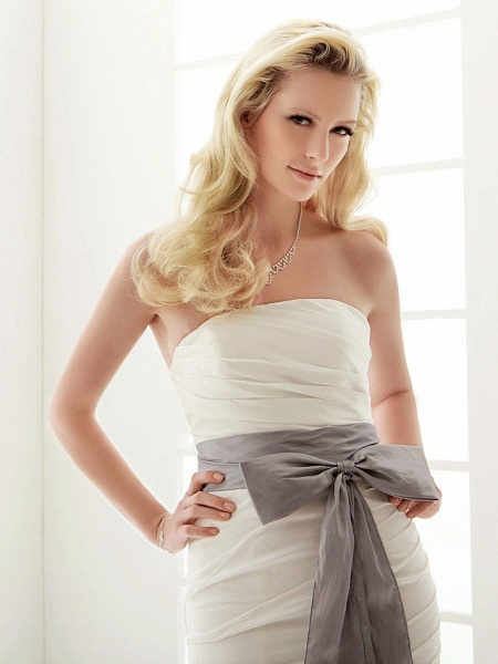 Mermaid \ Trumpet Wedding Dresses Strapless Floor Length Taffeta Sleeveless Wedding Dress in Color_4