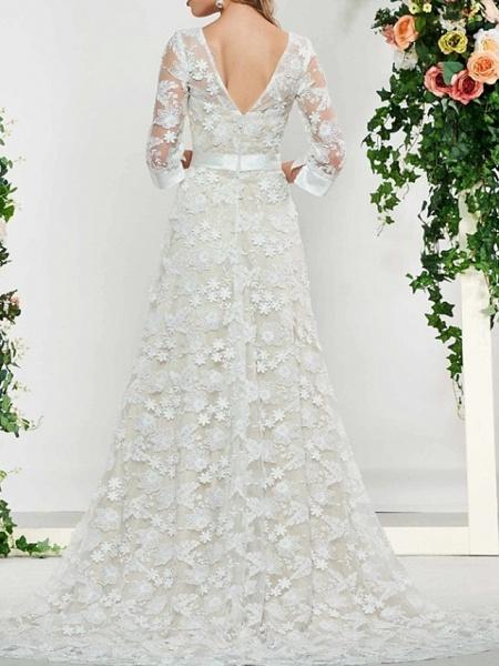 A-Line V Neck Sweep \ Brush Train Lace 3\4 Length Sleeve Formal Illusion Sleeve Wedding Dresses_2