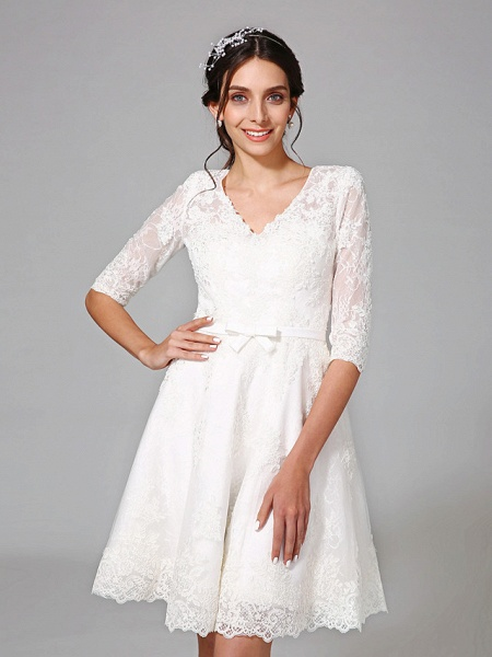 A-Line Wedding Dresses V Neck Knee Length All Over Lace 3\4 Length Sleeve Formal Casual Vintage Cute Illusion Sleeve_6