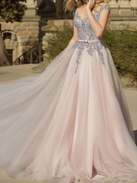 A-Line Wedding Dresses Jewel Neck Sweep \ Brush Train Lace Tulle Short Sleeve Country Plus Size_1