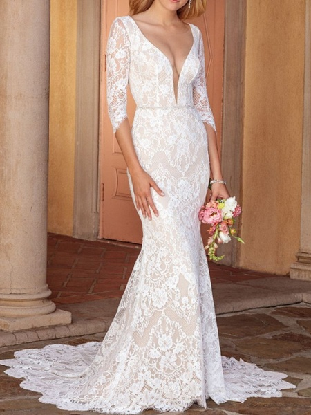 Sheath \ Column V Neck Court Train Lace Half Sleeve Country Wedding Dress in Color Wedding Dresses_1