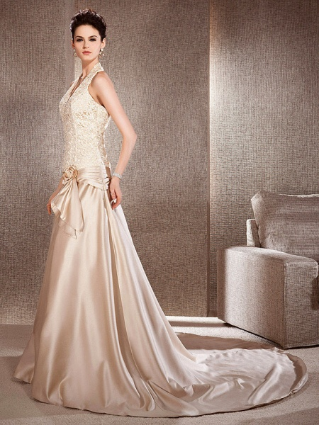Princess A-Line Wedding Dresses V Neck Chapel Train Lace Satin Sleeveless Wedding Dress in Color_6