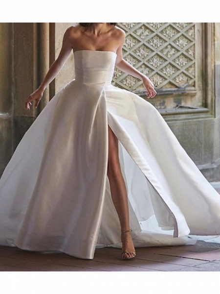 Ball Gown Wedding Dresses Strapless Sweep \ Brush Train Polyester Sleeveless Country Plus Size_1