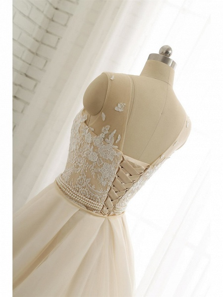 Mermaid \ Trumpet Jewel Neck Chapel Train Lace Tulle Lace Over Satin Regular Straps Formal See-Through Wedding Dresses_9