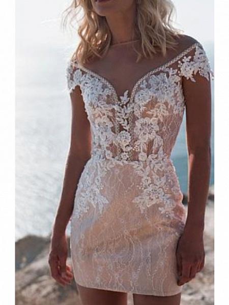 A-Line Wedding Dresses Jewel Neck Sweep \ Brush Train Lace Tulle Cap Sleeve_2