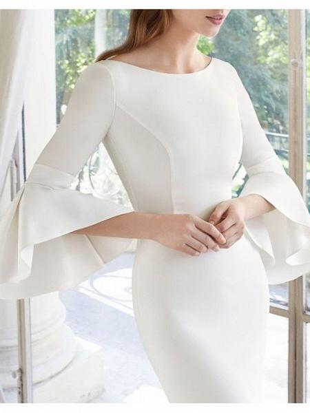 Mermaid \ Trumpet Wedding Dresses Bateau Neck Court Train Satin 3\4 Length Sleeve_3