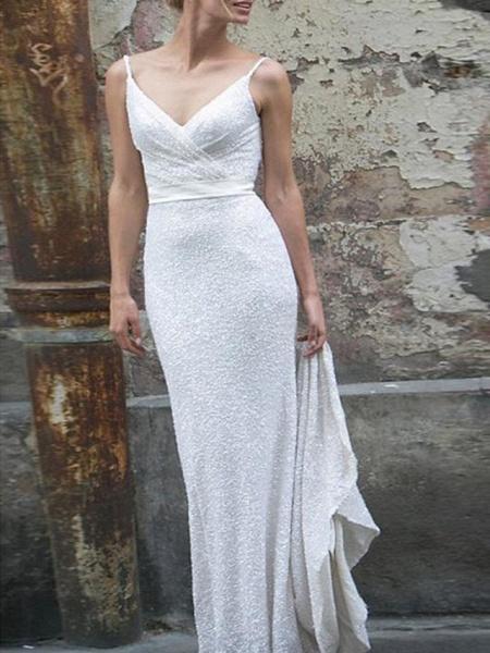 Mermaid \ Trumpet Wedding Dresses V Neck Spaghetti Strap Sweep \ Brush Train Satin Sequined Sleeveless Simple Backless_1