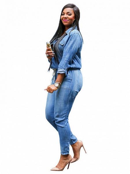Women's Plus Size Daily Shirt Collar Light Blue Pencil Jumpsuit_2
