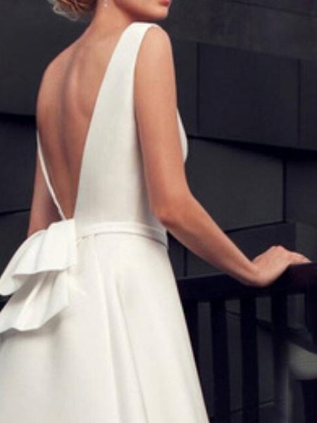 A-Line Wedding Dresses Jewel Neck Floor Length Satin Sleeveless Beach_2
