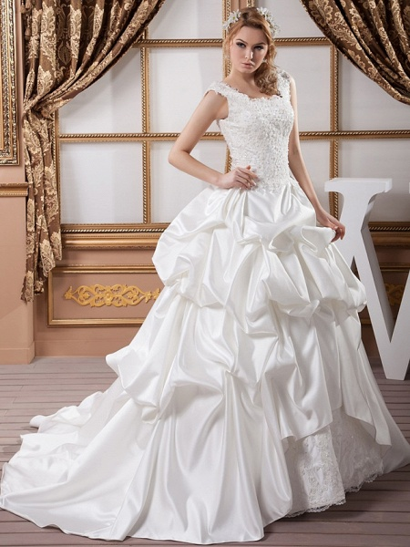 A-Line Square Neck Court Train Lace Satin Regular Straps Wedding Dresses_2