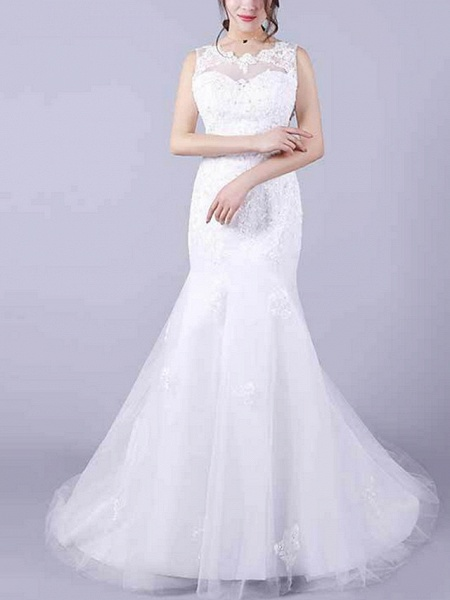Mermaid \ Trumpet Wedding Dresses Jewel Neck Floor Length Lace Sleeveless Casual Plus Size_1