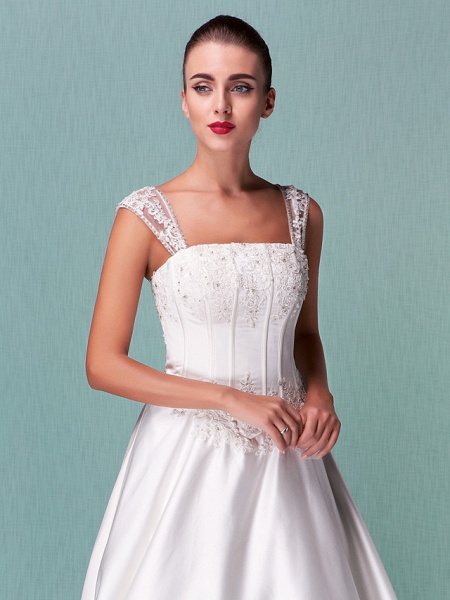 Lt14001 Simple Boho Ball Gown Wedding Dress_3