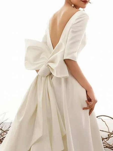 A-Line Bateau Neck Court Train Polyester Half Sleeve Vintage Sexy Wedding Dresses_2