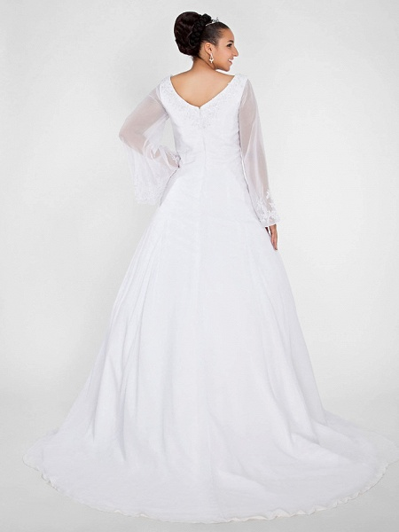 Ball Gown A-Line Wedding Dresses V Neck Court Train Chiffon Long Sleeve Formal Plus Size Illusion Sleeve_4