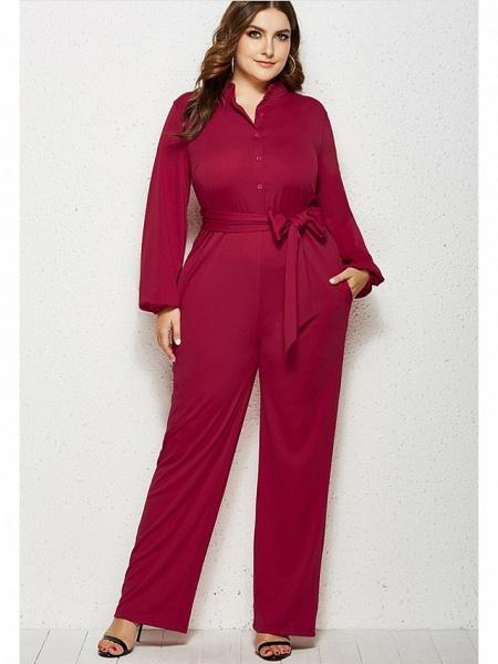 Women's Basic V Neck Black Red Fuchsia Jumpsuit_2