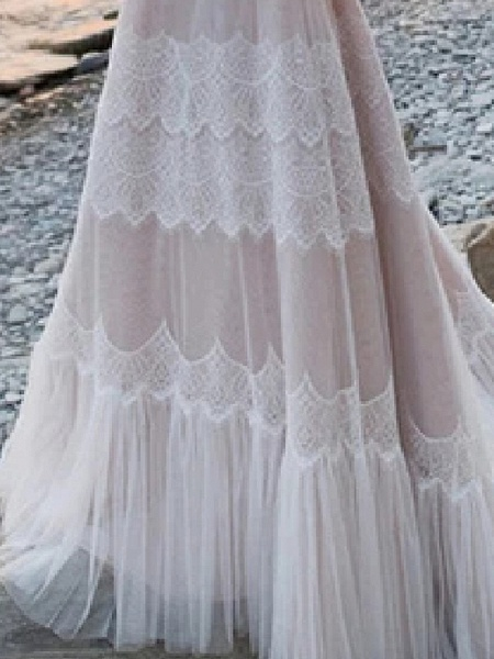 A-Line Wedding Dresses V Neck Spaghetti Strap Sweep \ Brush Train Lace Tulle Half Sleeve Beach Sexy Plus Size_3