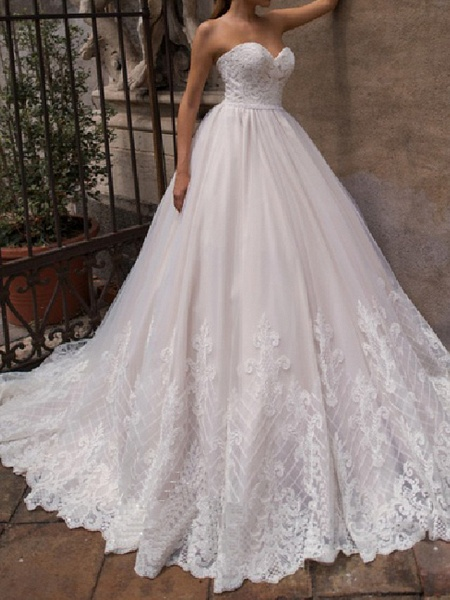 A-Line Off Shoulder Court Train Lace Tulle 3\4 Length Sleeve Country Plus Size Wedding Dresses_1