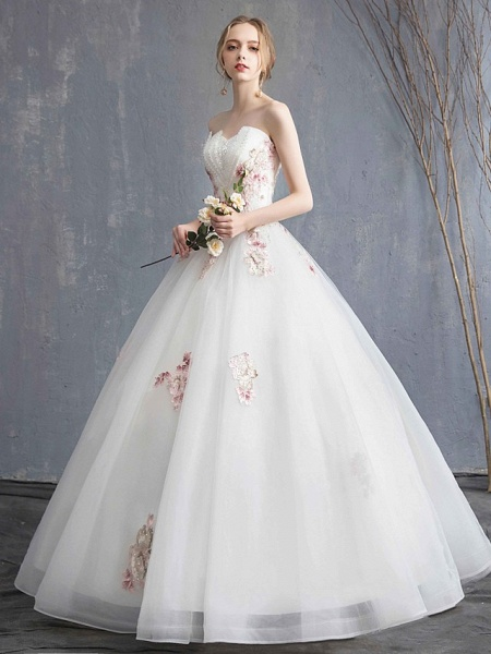 A-Line Wedding Dresses Strapless Maxi Lace Organza Tulle Strapless Country Romantic Sparkle & Shine_4