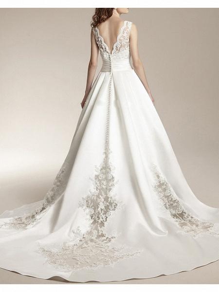 A-Line Wedding Dresses V Neck Court Train Satin Tulle Sleeveless Formal Illusion Detail Plus Size_2