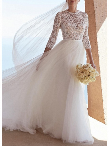 A-Line Wedding Dresses Jewel Neck Sweep \ Brush Train Lace Tulle 3\4 Length Sleeve Plus Size Illusion Sleeve_2