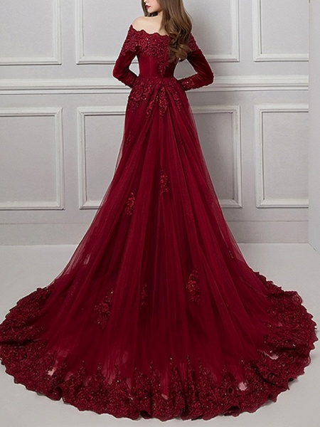 Mermaid \ Trumpet Beautiful Back Red Engagement Formal Evening Dress Off Shoulder Long Sleeve Chapel Train Polyester_4