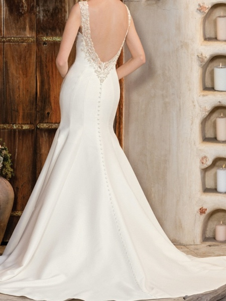 Mermaid \ Trumpet Wedding Dresses V Neck Chapel Train Matte Satin Georgette Sleeveless Sexy Wedding Dress in Color_2
