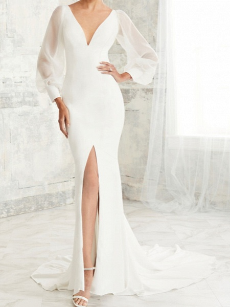 Mermaid \ Trumpet Wedding Dresses V Neck Court Train Tulle Stretch Satin Long Sleeve Simple Illusion Sleeve_1