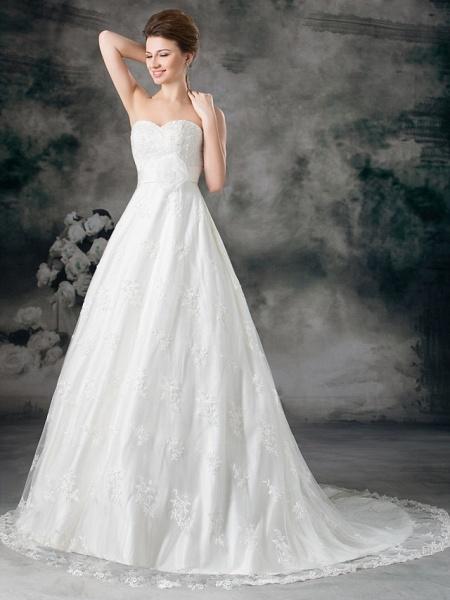 A-Line Sweetheart Neckline Court Train Lace Satin Strapless Wedding Dresses_3