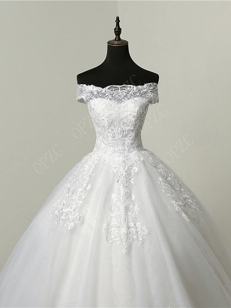 Ball Gown Wedding Dresses Off Shoulder Court Train Tulle Sequined Short Sleeve Glamorous Illusion Detail_2