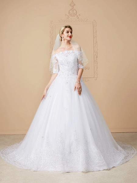 Ball Gown Wedding Dresses Off Shoulder Court Train Lace Tulle Half Sleeve Sparkle & Shine Open Back Cute_4