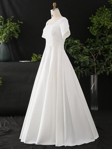 A-Line Wedding Dresses Scoop Neck Floor Length Satin Half Sleeve Formal Elegant_3
