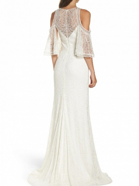 Sheath \ Column Wedding Dresses Jewel Neck Sweep \ Brush Train Chiffon Lace 3\4 Length Sleeve_2